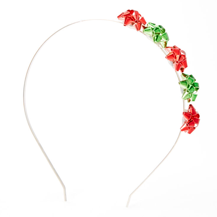 Red & Green Holiday Bow Headband,