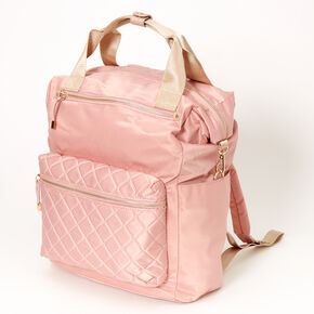 Satin Quilted Double Handle Medium Backpack - Blush,
