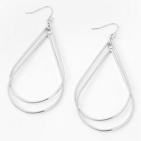 """Silver 2.5"""" Double Teardrop Drop Earrings,"""