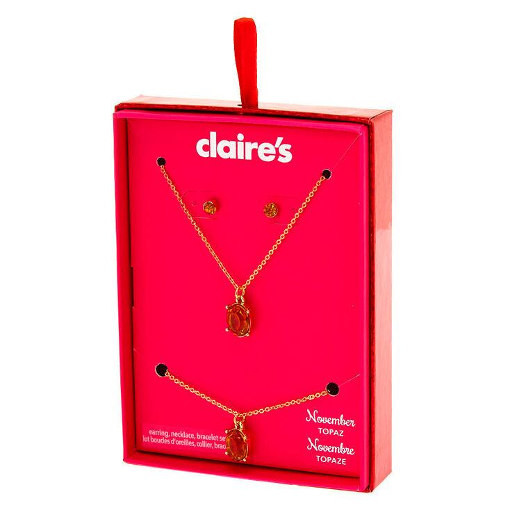 November Birthstone Jewellery Gift Set - Topaz, 3 Pack,