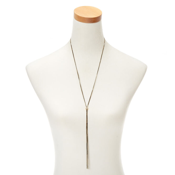Gold Shimmer Y-Neck Long Pendant Necklace,
