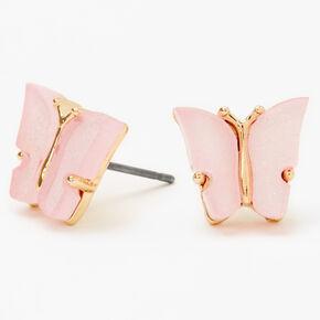 Gold Glitter Butterfly Stud Earrings - Pink,