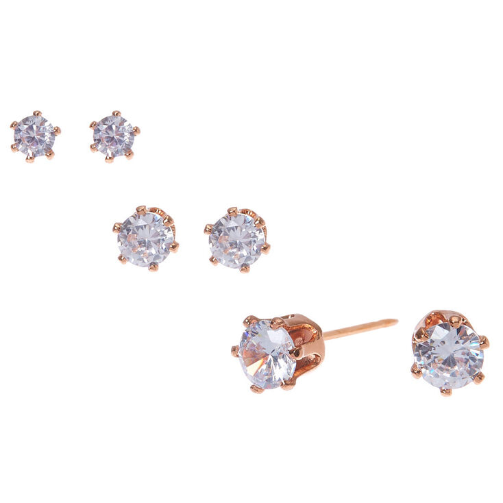 18kt Rose Gold Plated Cubic Zirconia Round Stud Earrings 3mm 4mm 5mm Claire S Us