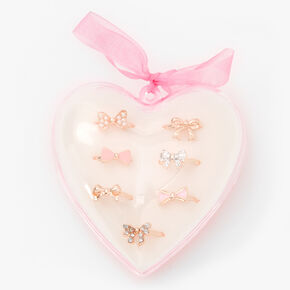 Claire's Club Heart Box Bow Rings - Pink, 7 Pack,