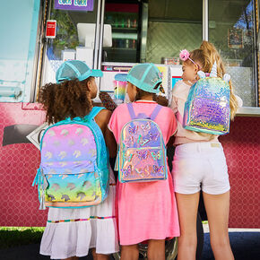 Holographic Sequin Unicorn Small Backpack - Pink,