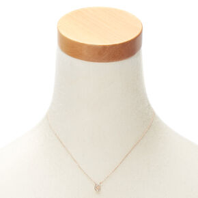 Rose Gold Embellished Initial Pendant Necklace - G,