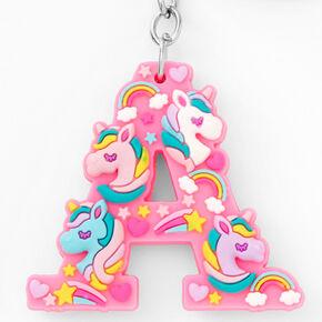 Initial Unicorn Keychain - Pink, A,
