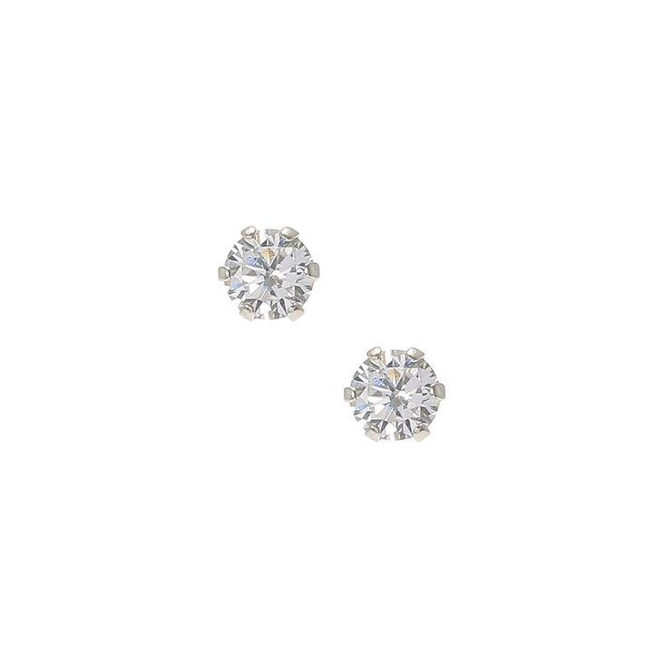 Sterling Silver Cubic Zirconia Stud Earrings - 4MM,