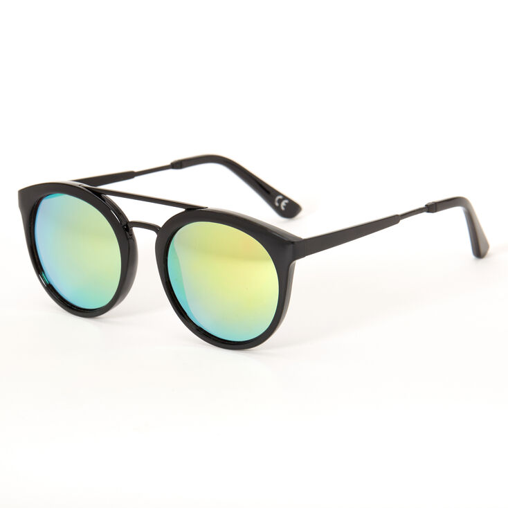 Round Aviator Sunglasses - Black,