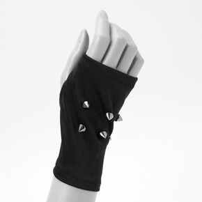 Studded Fingerless Gloves - Black,