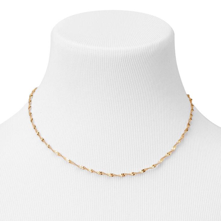 Collier chaîne coupe diamant torsadé couleur dorée,