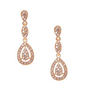 Rose Gold Pavé Rhinestone Framed Teardrop Drop Earrings,