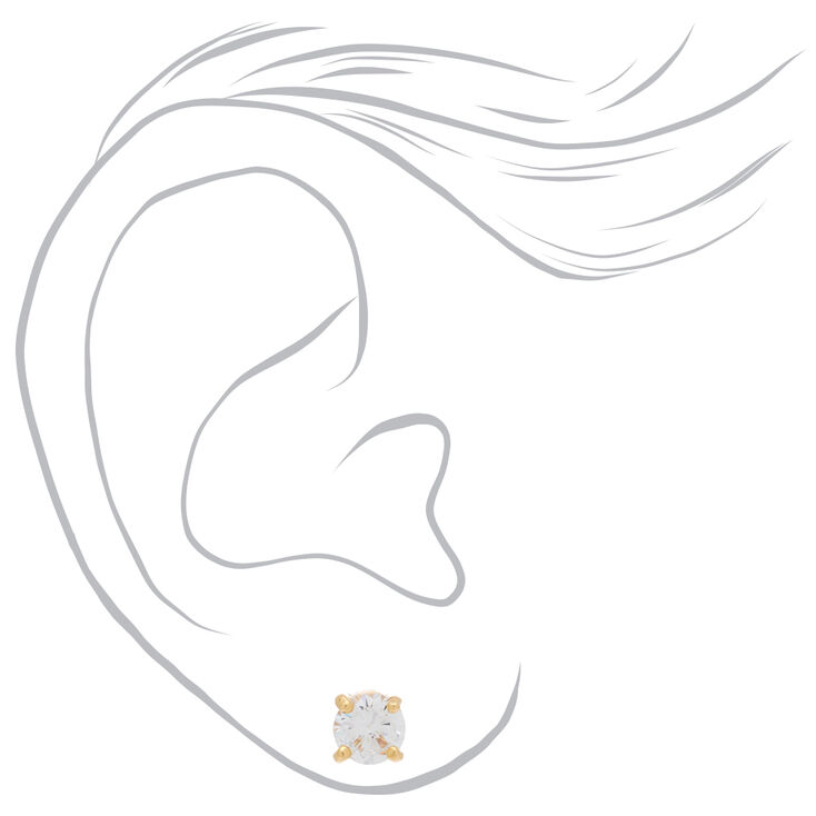 18kt Gold Plated Cubic Zirconia Round Stud Earrings - 6MM,