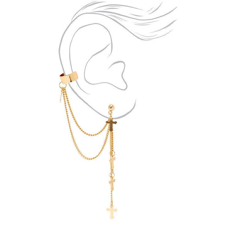 """Gold 3"""" Cross Linear Ear Cuff Drop Earrings,"""