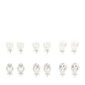 Silver Pearl and Crystal Graduated Clip On Stud Earrings - 6 Pack,
