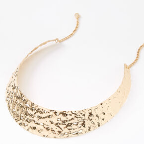 Gold Hammered Collar Statement Necklace,