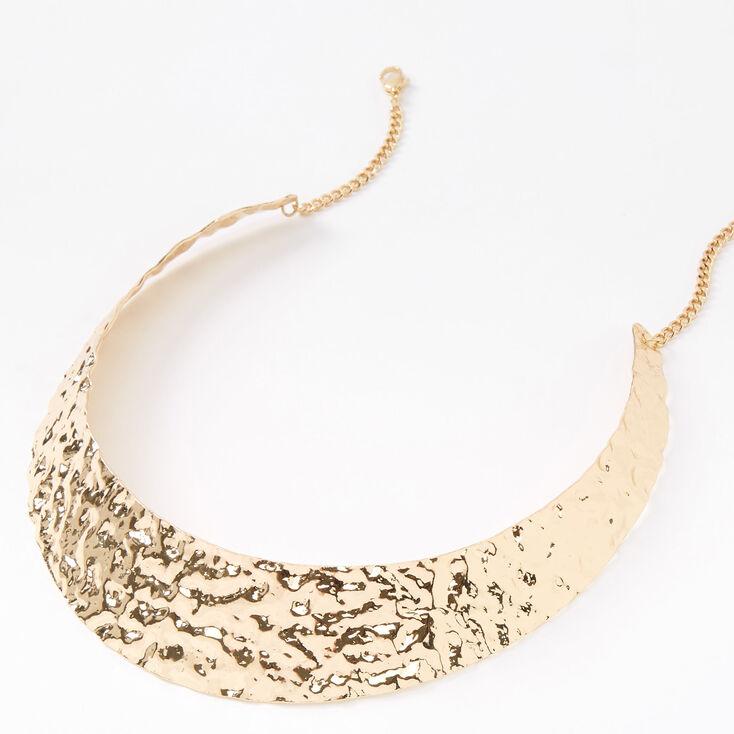 Gold Hammered Collar Statement Necklace,