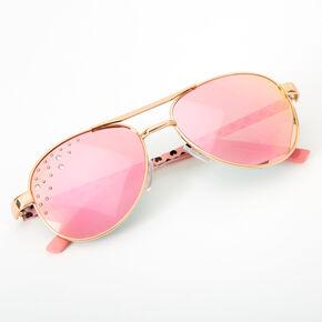 Claire's Club Hearts Aviator Sunglasses - Pink,