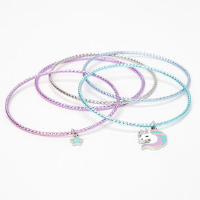 Claire's Club Lilac Unicorn Bangles - 5 Pack,
