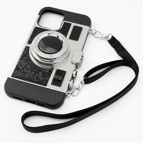 Black Glitter Camera Phone Case - Fits iPhone 12 Pro Max,