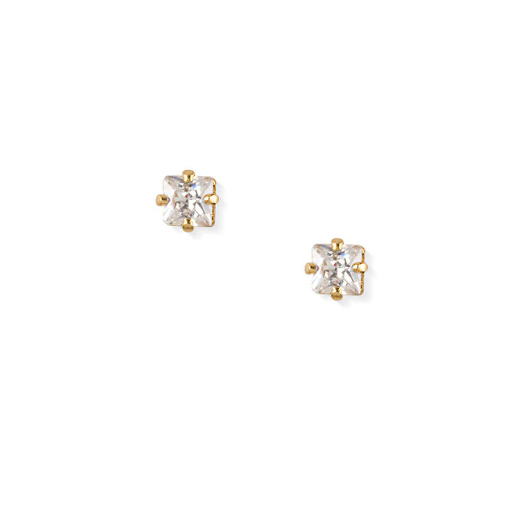 18kt Gold Plated 3MM Cubic Zirconia Square Stud Earrings,