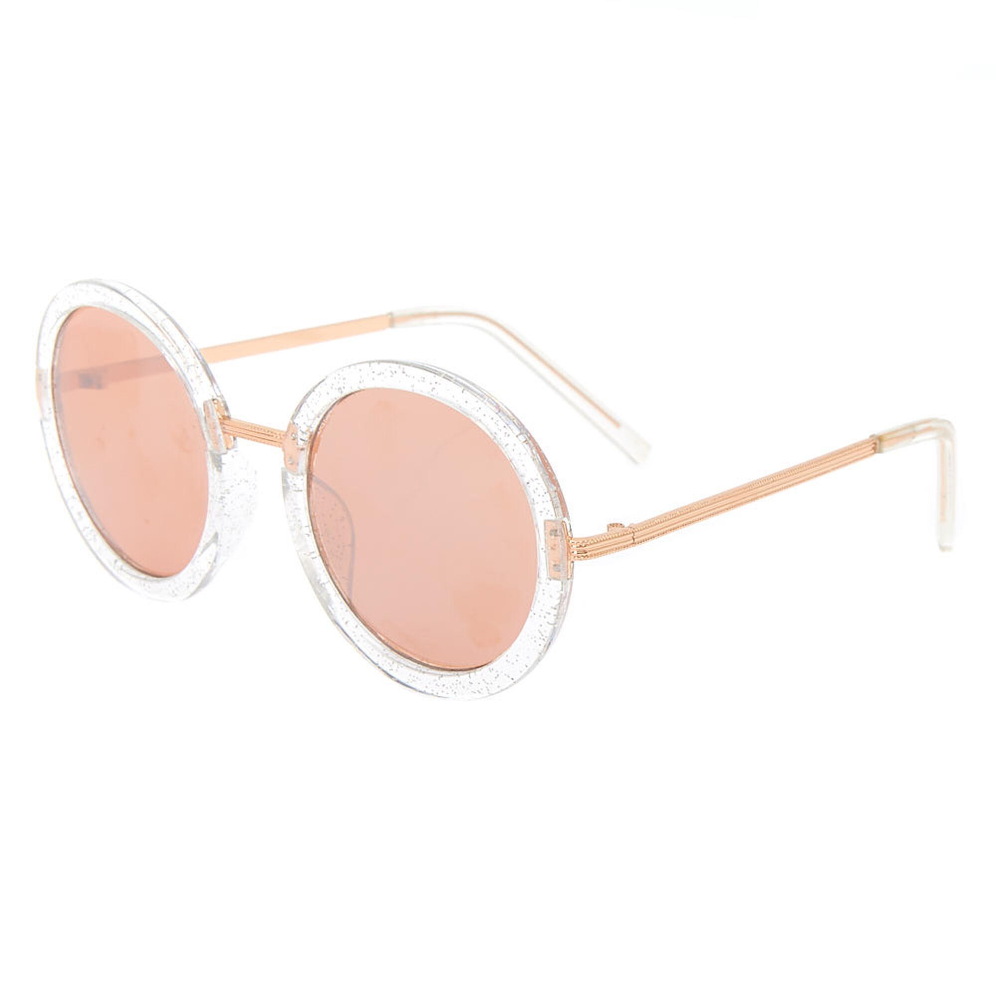 f7145a77261 Round Glitter Sunglasses - Rose Gold