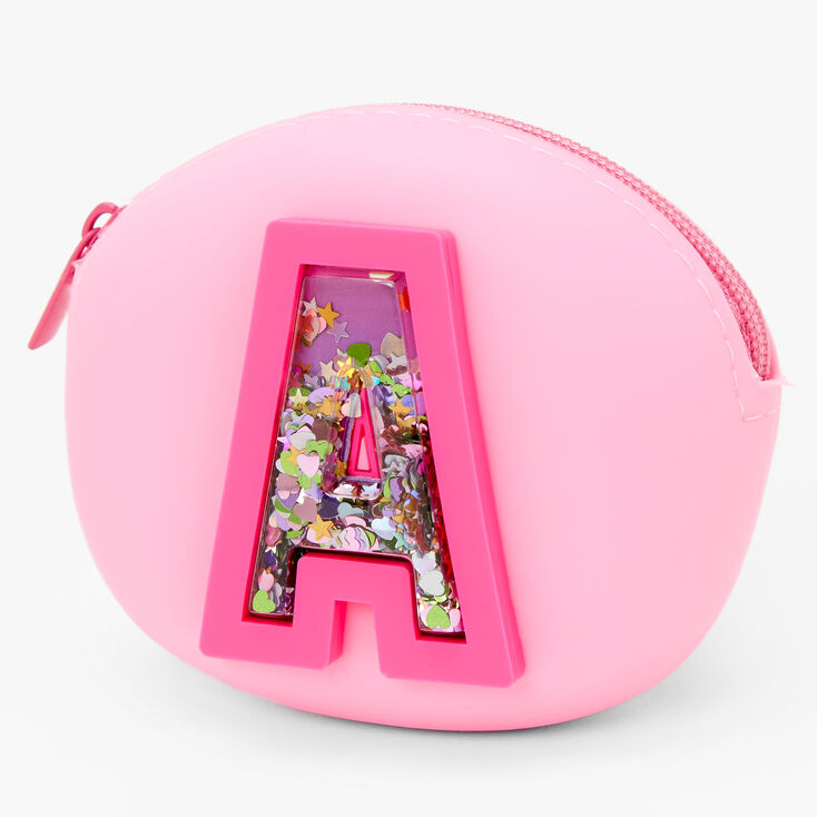Shaker Initial Jelly Coin Purse - Pink, A,