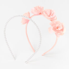 Pink Floral and Pearl Headbands - 3 Pack,