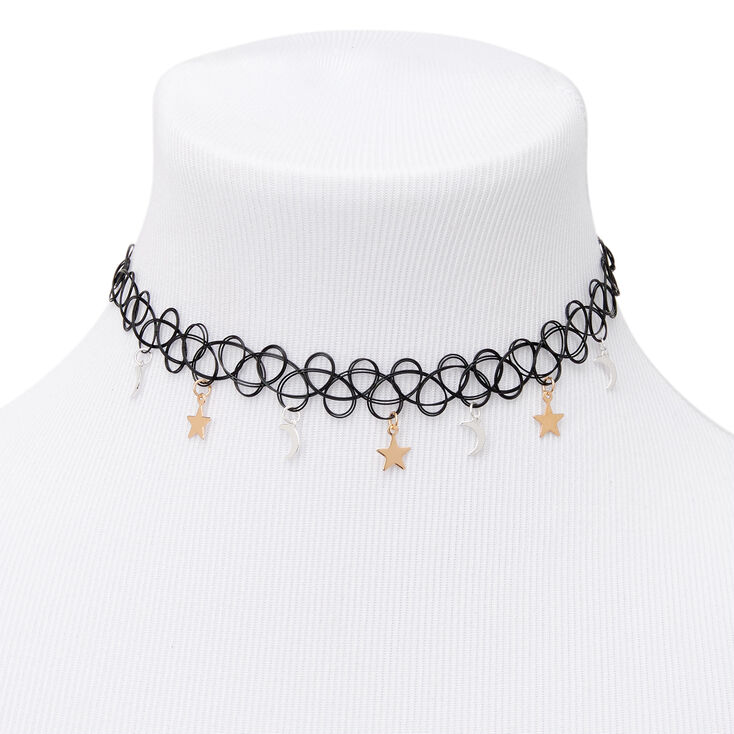 Mixed Metal Celestial Tattoo Choker Necklace,