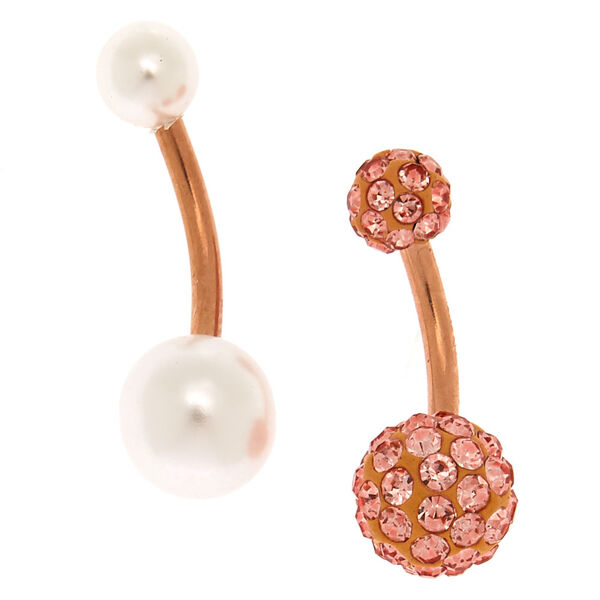 Claire's - rose 14g pearl belly rings - 1