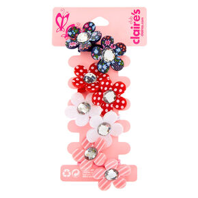Claire's Club Floral Gem Hair Ties - 4 Pack,