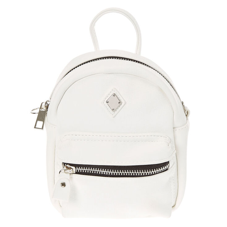 d09d91ee8b Mini Faux Leather White Crossbody Backpack