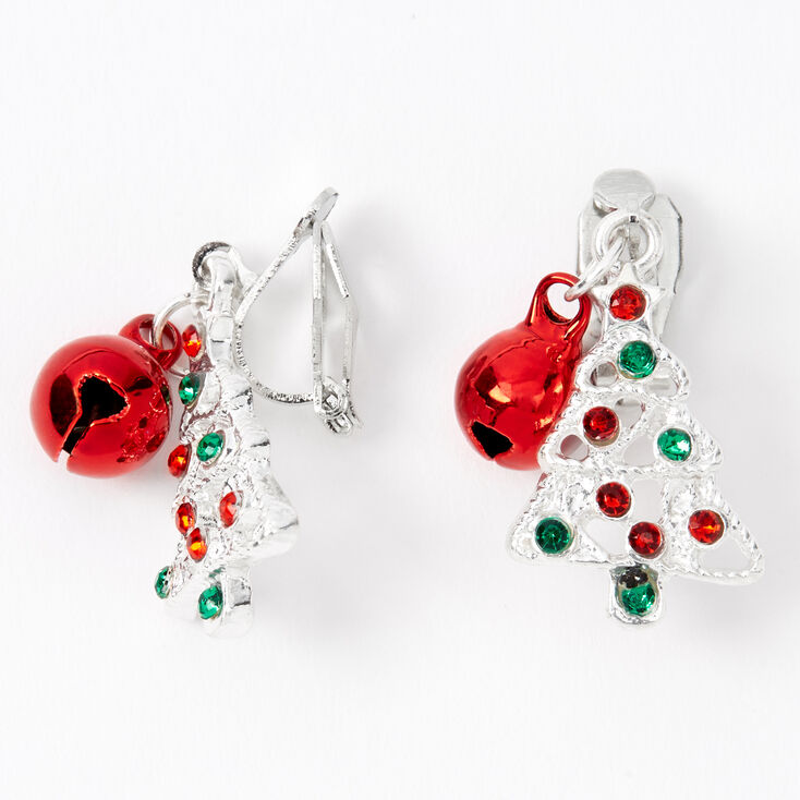 Silver Christmas Tree Bell Clip On Earrings,