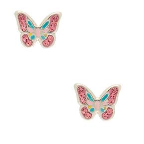 Clous d'oreille en argent avec papillon pastel,