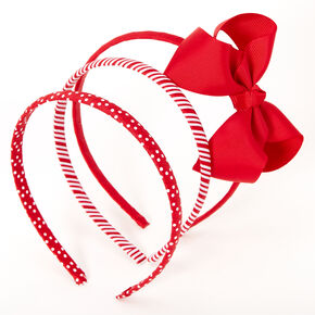 Claire's Club Mixed Pattern Bow Headbands - Red, 3 Pack,
