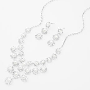 Pearl & Rhinestone Necklace & Drop Earring Set,