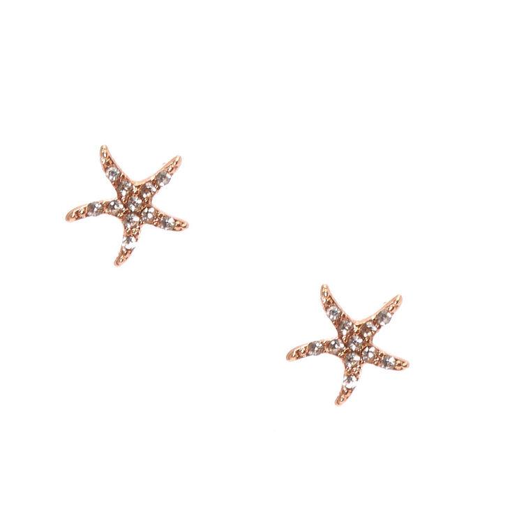 Rose Gold Embellished Starfish Stud Earrings,