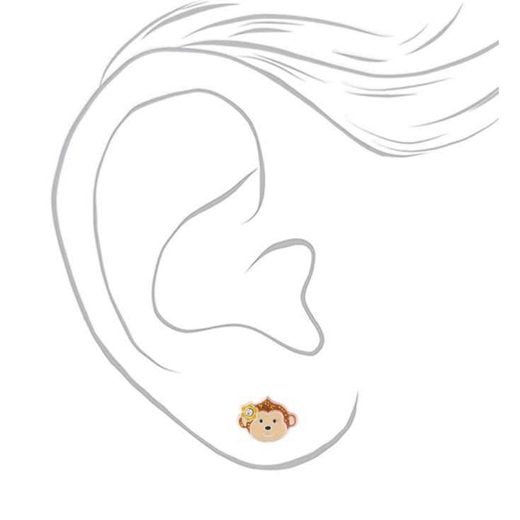 Clous d'oreille singe à paillettes couleur argenté,