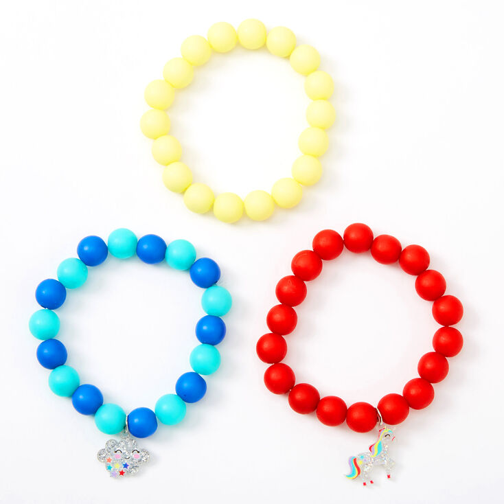 Claire's Club Rainbow Unicorn Matte Beaded Bracelets - 3 Pack,