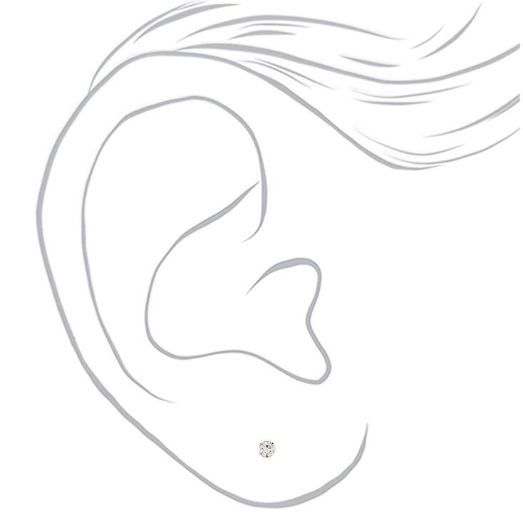 Clous d'oreilles aimantés pierre brillante couleur argentée - Lot de 9,
