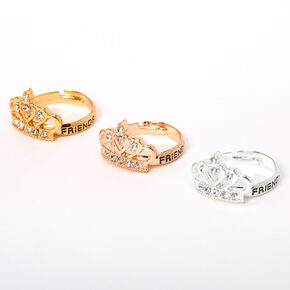 Mixed Metal Embellished Crown Friendship Rings - 3 Pack,