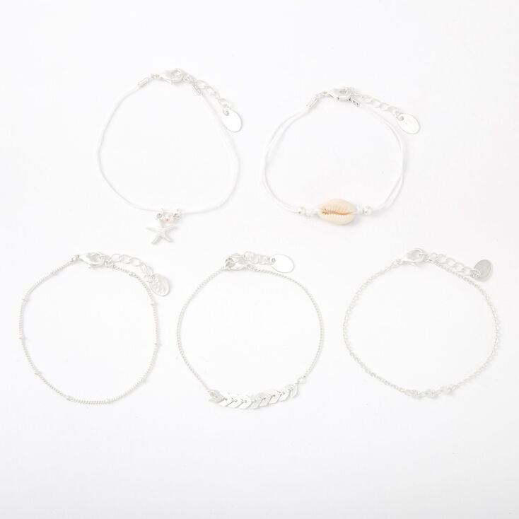 Silver Chevron Seashell Mixed Bracelets - 5 Pack,