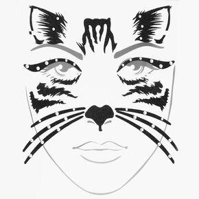 Halloween Glitter Black Cat Face Tattoos - Black,