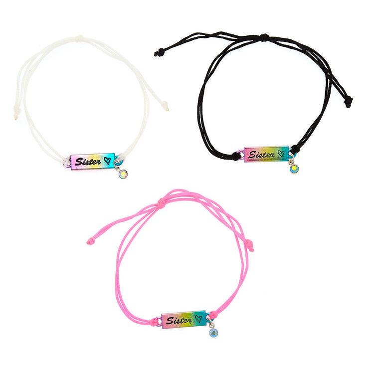 Rainbow Adjustable Sister Bracelets - 3 Pack,