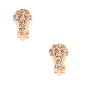 Rose Gold Crystal Cross Clip On Stud Earrings,