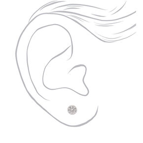 Sterling Silver Cubic Zirconia 6MM Bezel Stud Earrings,