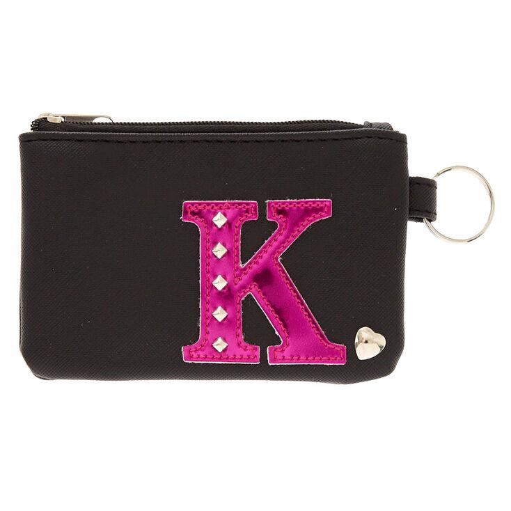 Porte-monnaie en similicuir d'imitation noir avec initiale K rose vif,