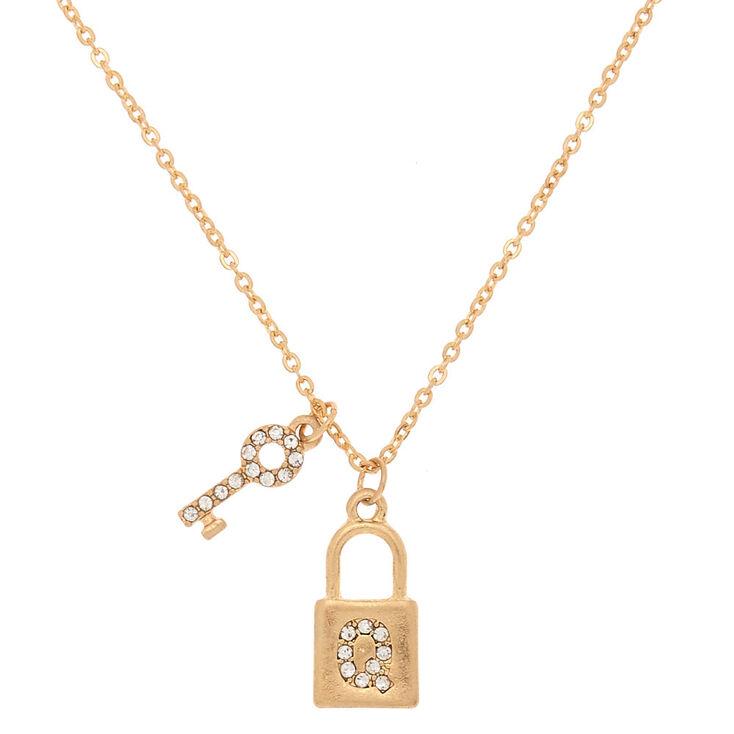 Gold Lock & Key Initial Pendant Necklace - Q,