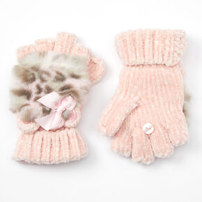 Claire's Club Leopard Chenille Fingerless Gloves With Mitten Flap - Pink,