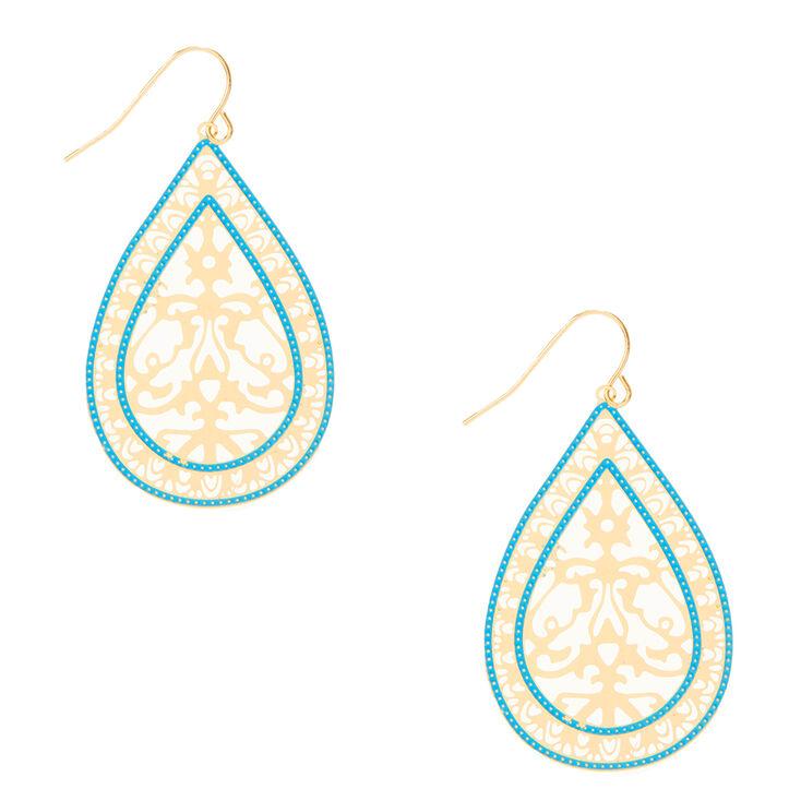 Pendants d'oreilles en forme de gouttes couleur doré et couleur turquoise à découpe,